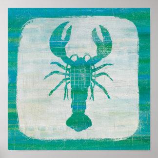 Coastal Art   Aqua Lobster Poster