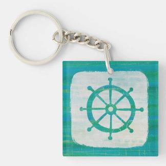 Coastal Art| Aqua Steering Wheel Keychain