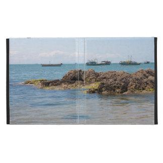 Coastal Art Blue Sea and Boats Photograph iPad Folio Covers