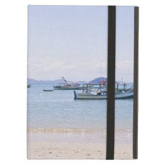 Coastal Art Blue Sea and Boats Photograph iPad Folio Cases