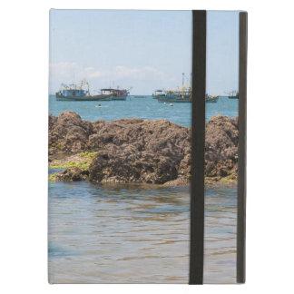 Coastal Art Blue Sea and Boats Photograph iPad Folio Case