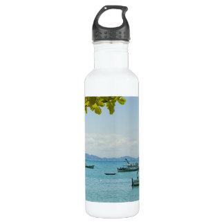 Coastal Art Blue Sea and Boats Photograph 24oz Water Bottle