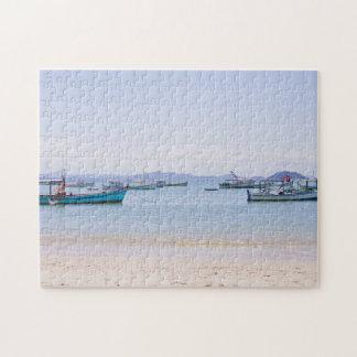 Coastal Art Blue Sea and Boats Photograph Puzzles