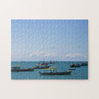 Coastal Art Blue Sea and Boats Photograph Puzzle