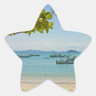 Coastal Art Blue Sea and Boats Photograph Star Sticker
