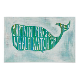 Coastal Art | Captain Max's Whale Watch Poster