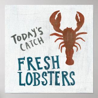 Coastal Art   Fresh Lobsters Poster