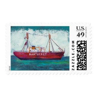 Coastal Art   Nantucket Lightship Postage