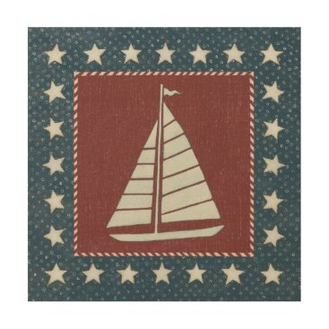 USA Themed Coastal Art   Sailboat on Red