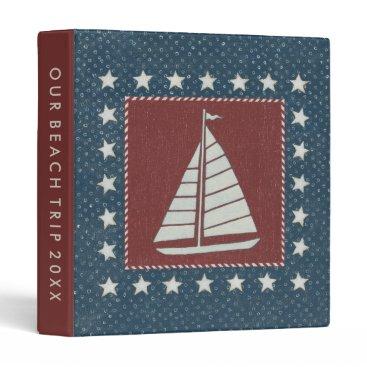 USA Themed Coastal Art   Sailboat on Red 3 Ring Binder