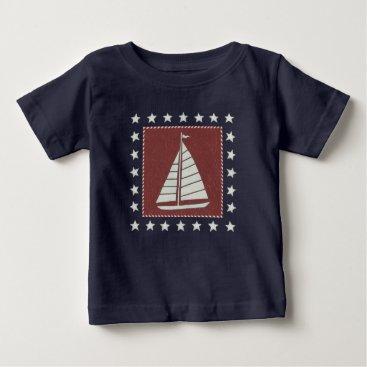 USA Themed Coastal Art   Sailboat on Red Baby T-Shirt