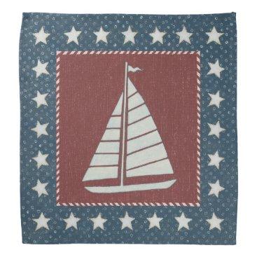 USA Themed Coastal Art   Sailboat on Red Bandana