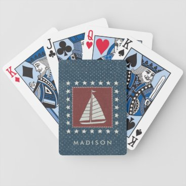 USA Themed Coastal Art   Sailboat on Red Bicycle Playing Cards