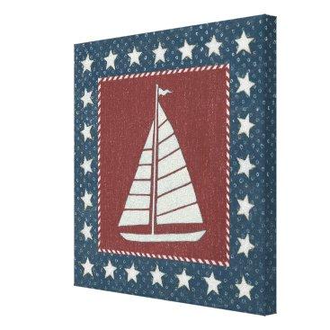 USA Themed Coastal Art   Sailboat on Red Canvas Print