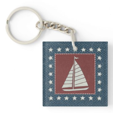 USA Themed Coastal Art   Sailboat on Red Keychain