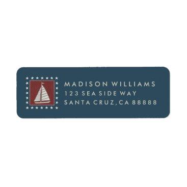 USA Themed Coastal Art   Sailboat on Red Label