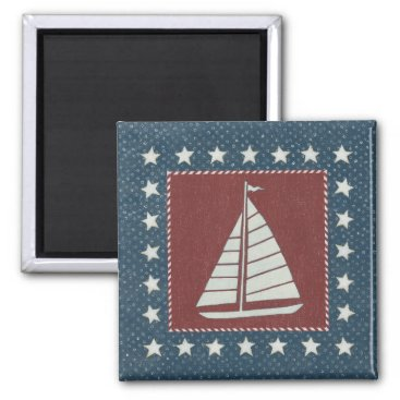 USA Themed Coastal Art   Sailboat on Red Magnet