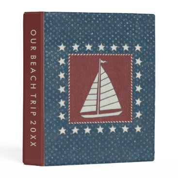 USA Themed Coastal Art   Sailboat on Red Mini Binder