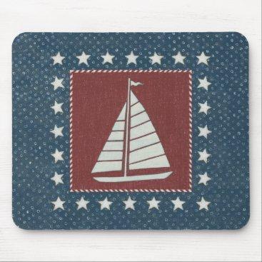 USA Themed Coastal Art   Sailboat on Red Mouse Pad