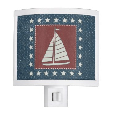 USA Themed Coastal Art   Sailboat on Red Night Light