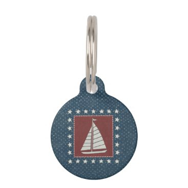 USA Themed Coastal Art   Sailboat on Red Pet ID Tag