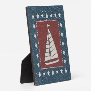 USA Themed Coastal Art   Sailboat on Red Plaque