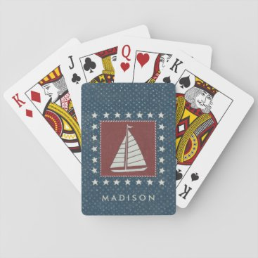USA Themed Coastal Art   Sailboat on Red Playing Cards