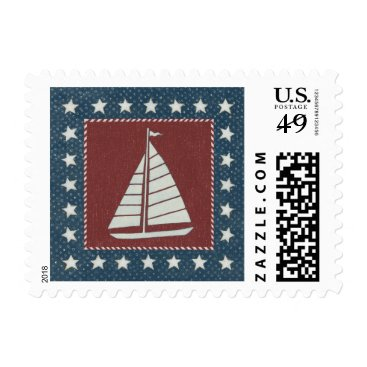 USA Themed Coastal Art   Sailboat on Red Postage