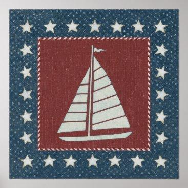 USA Themed Coastal Art   Sailboat on Red Poster