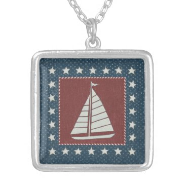 USA Themed Coastal Art   Sailboat on Red Silver Plated Necklace