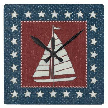 USA Themed Coastal Art   Sailboat on Red Square Wall Clock