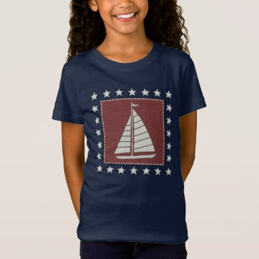 USA Themed Coastal Art   Sailboat on Red T-Shirt
