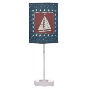 USA Themed Coastal Art   Sailboat on Red Table Lamp