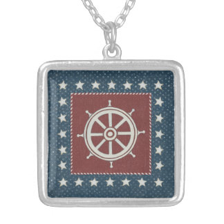Coastal Art | Ship wheel on Red Silver Plated Necklace