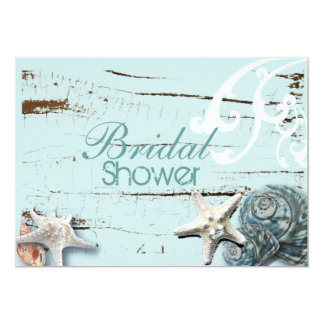 Coastal barn wood aqua blue starfish seashells card
