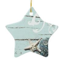 Coastal barn wood aqua blue starfish seashells ceramic ornament