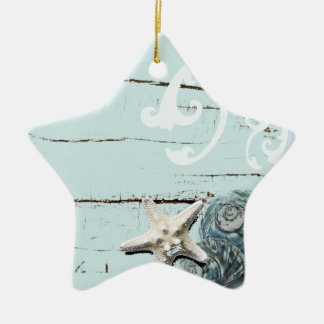Coastal barn wood aqua blue starfish seashells ceramic ornament
