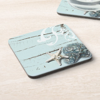 Coastal barn wood aqua blue starfish seashells coaster