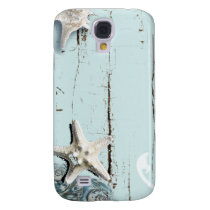 Coastal barn wood aqua blue starfish seashells galaxy s4 cover