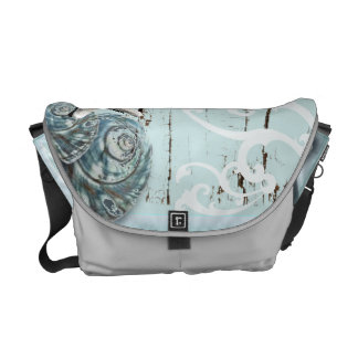 Coastal barn wood aqua blue starfish seashells messenger bag