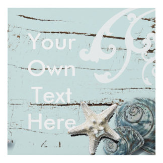 Coastal barn wood aqua blue starfish seashells panel wall art