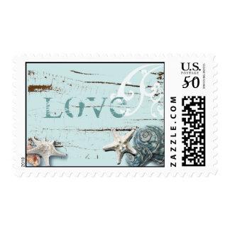 Coastal barn wood aqua blue starfish seashells postage