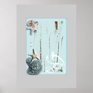 Coastal barn wood aqua blue starfish seashells poster