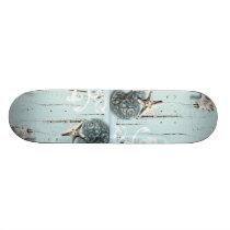 Coastal barn wood aqua blue starfish seashells skateboard