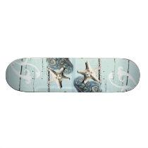 Coastal barn wood aqua blue starfish seashells skateboard deck