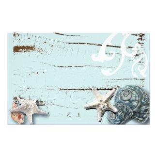 Coastal barn wood aqua blue starfish seashells stationery