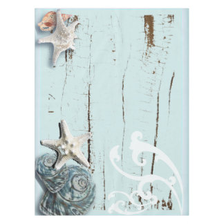 Coastal barn wood aqua blue starfish seashells tablecloth