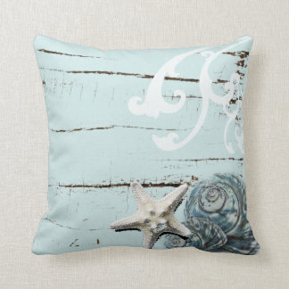 Coastal barn wood aqua blue starfish seashells throw pillow