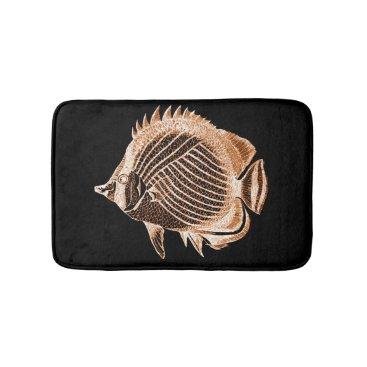 Beach Themed Coastal beach fish ocean black bath mats
