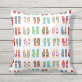 Coastal Beach Flip Flops Pattern Outdoor Pillow